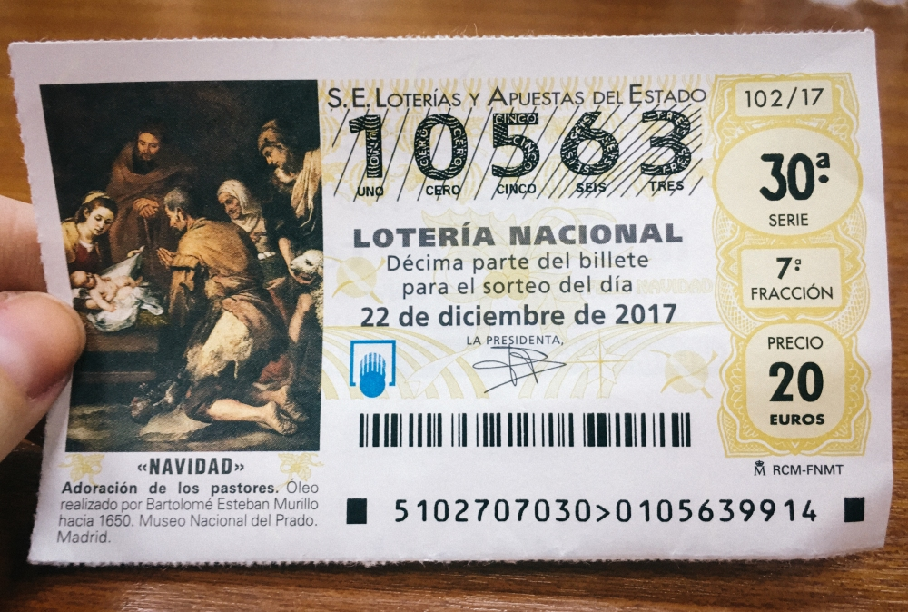 "Christmas Lotto Ticket ""El Gordo"""